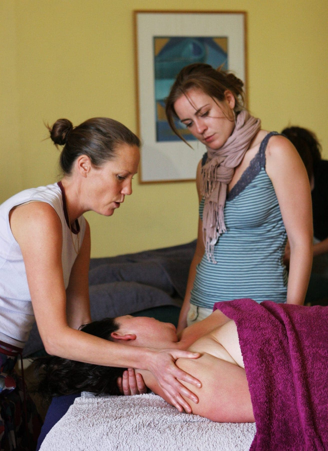 Swedish Massage Diploma: petrissage on upper trapezius