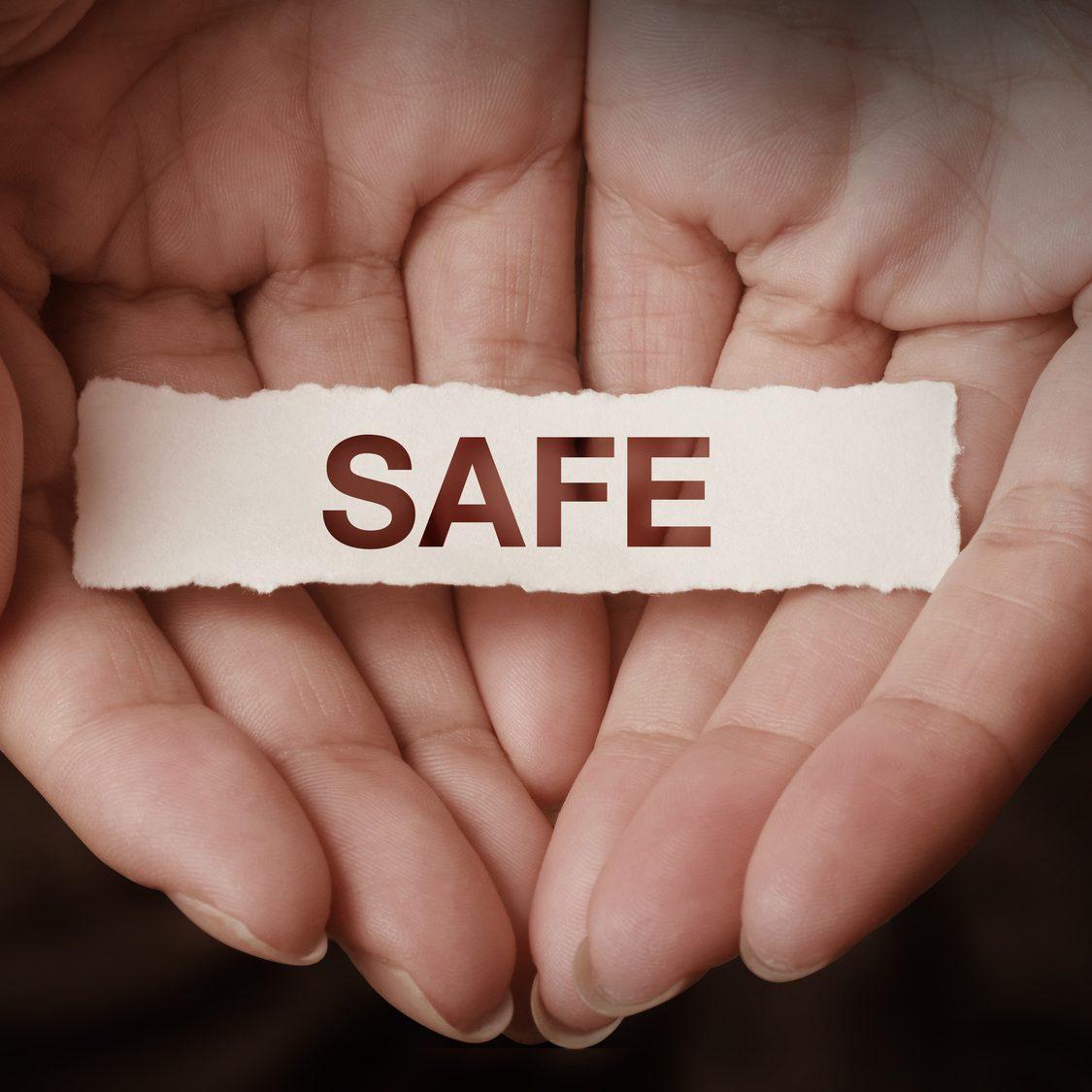 Safe text on hand design concept